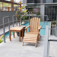 Outdoor Leisure Chair Waterproof Wood Composite Adirondack Chair Outdoor Wooden Beach Chair With High Density Sponge Cushion