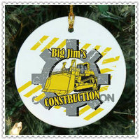 Picture Printing Circle Glass Ornament For Construction LOGO Decoration