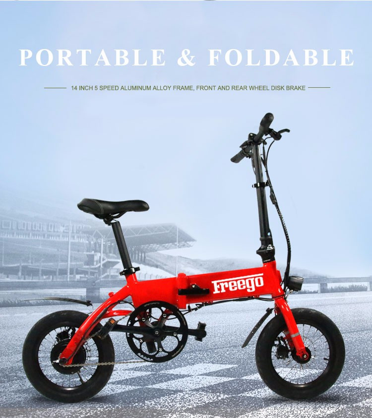 14 inch 250W Brushless Fat tire Folding Electric Bike, Electric Folding Bike with front lights