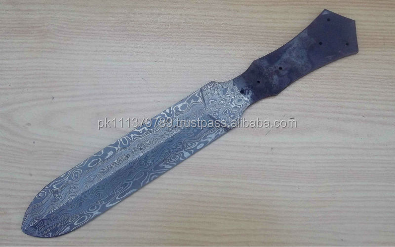 Damascus Double Edge Blank Blade knife