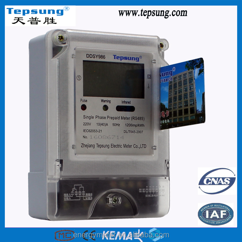 Multi- tariffs and RS485 communication Single Phase Multi-rate Prepaid Smart Electronic Watt-hour Meter