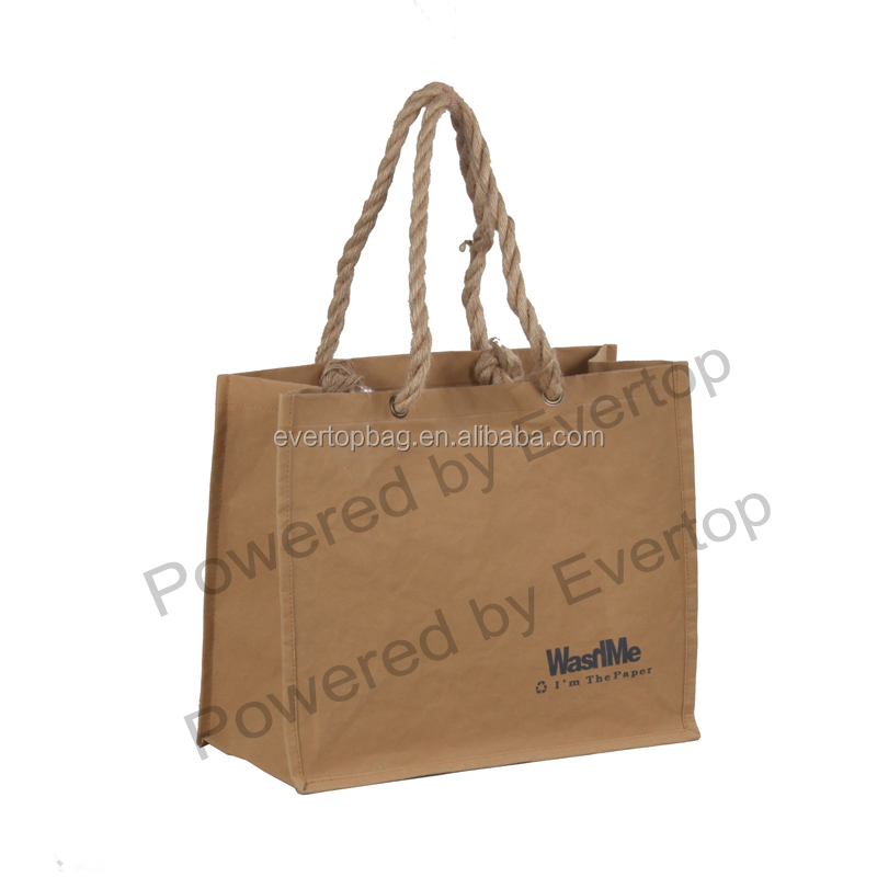 Food Grade fashionable washable kraft paper bag handbag