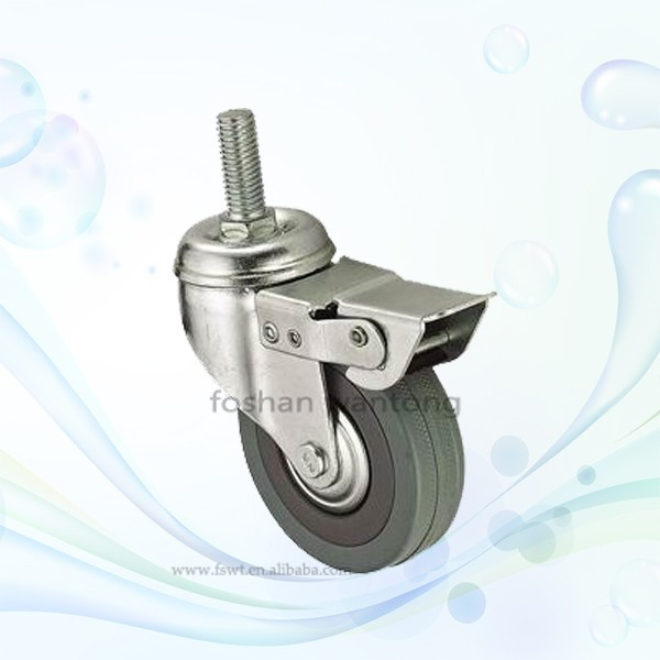 3 Inch Threaded Stem Rubber Caster With Brake For Furniture Hardware