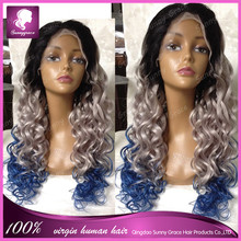 2015 New Arrival Full Lace Human Hair Wigs Wavy 100% Malaysian Virgin Human Hair Wig Ombre Grey Blue Glueless Full lace Wig