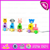 Pull back wooden toy four animals assorted,Wooden Pull Toys Interactive Cartoon Animal Pet Toy W05B112