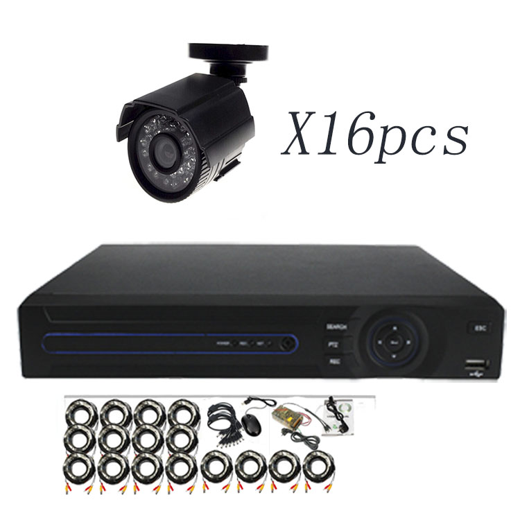 H.264 16ch home security alarm system /16 CCTV Cameras +16ch dvr / Wire CCTV Camera DVR Kit