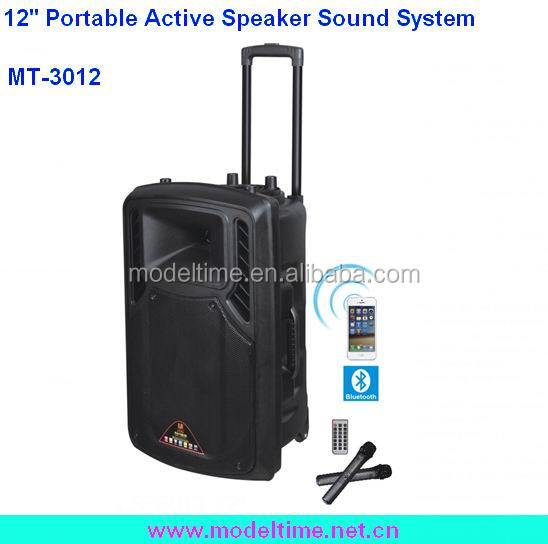 Portable 12'' Active Outdoor Speaker with Recording/MIC/ USB/SD/Karaoke Function