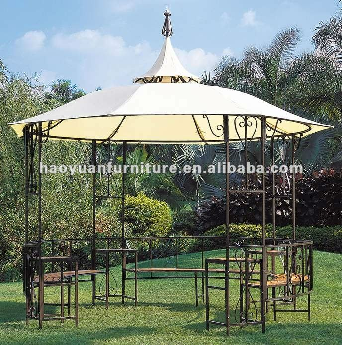Outdoor tent with curtain spire round outdoor gazebo tent