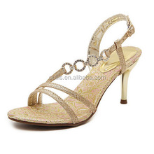 2015 Sexy gold crystal slingback sandals high heel diamond-studded sandals PZ3481