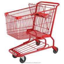 Metal unfolding supermarket shopping cart with fixed strong wheels