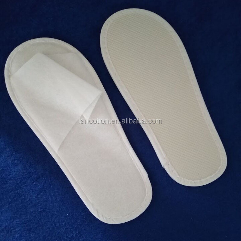 white color open toe non-woven disposable spa hotel slippers