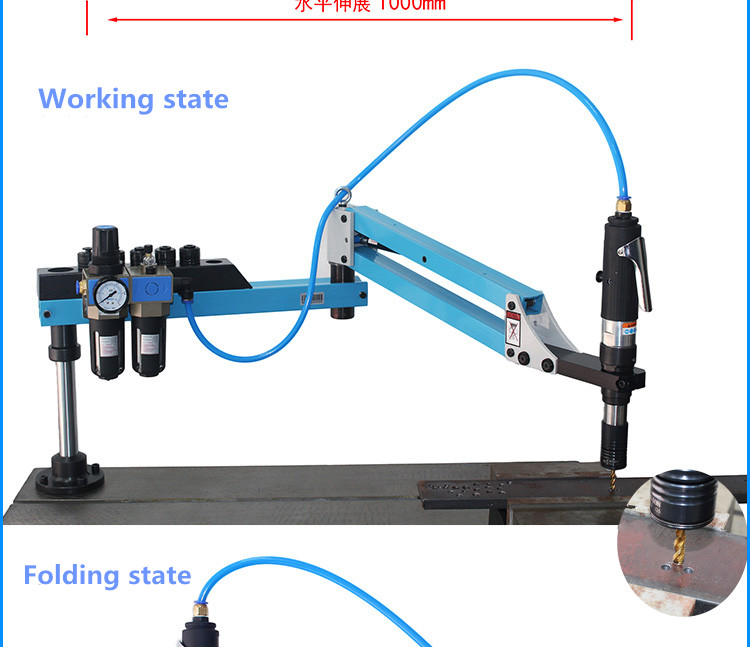 Vertical horizontal universal pneumatic nut tapping threading machine
