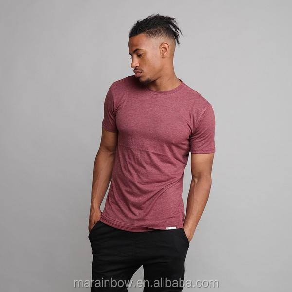 Bulk Wholesale Fitness T Shirt Drop back Longline T Shirt in Burgundy Heather Polyester Spandex Gym T Shirt for Men