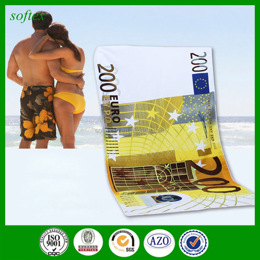 Fashion New 70*140cm 100% Cotton Money print Hundred Dollar Euro Bill Bath Beach Towel