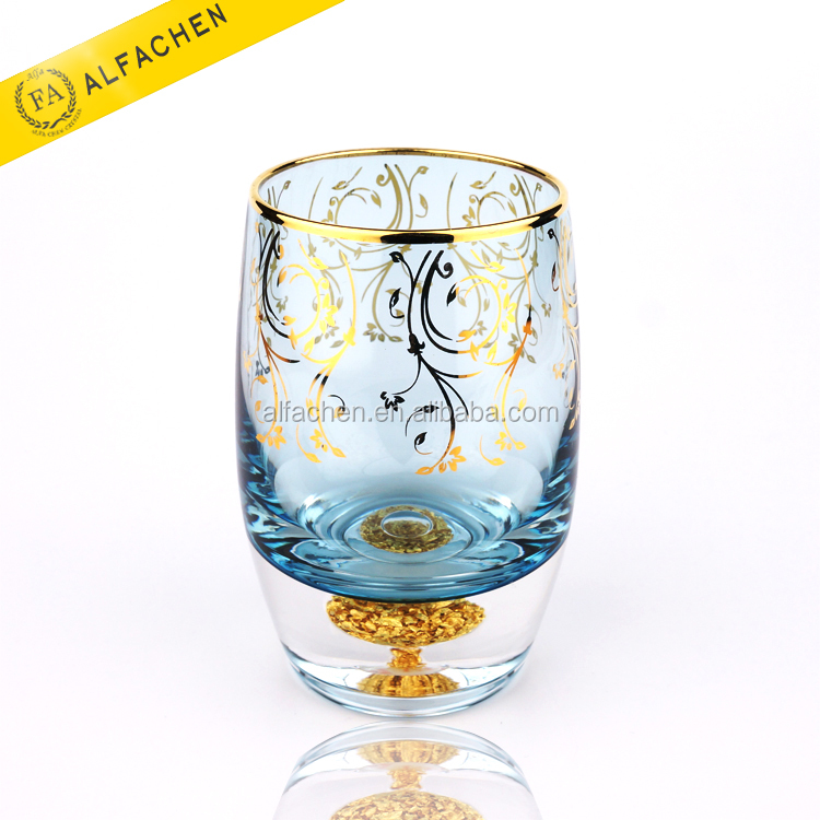 24K Gold Foil Drinking Cup Colored Glassware With Gold Rim Water <strong>Glass</strong>