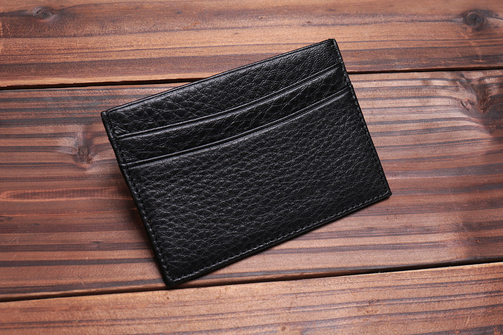 RFID blocking genuine leather card packet Italian vegetable tanned leather credit card holder
