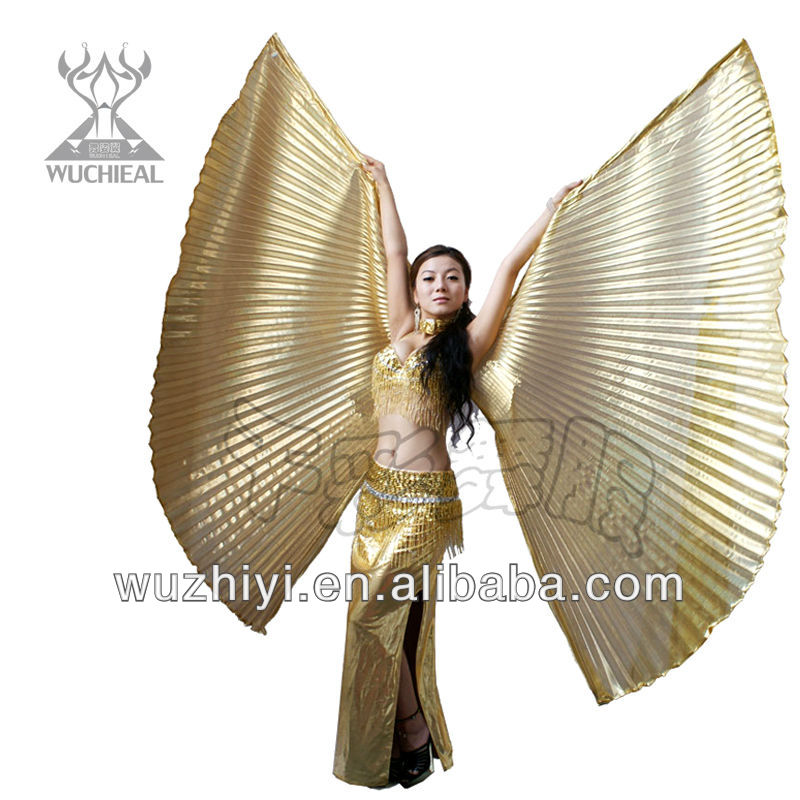 Belly Dancing Costumes Accessory, New Sexy India Belly Dance Wings, Stage Performance Butterfly Big Golden Isis Wings (DJ1008-1)