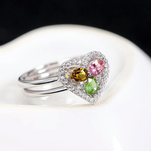 China <strong>specialized</strong> gem wholesale factory 925 sterling silver natural tourmaline heart shape ring for female
