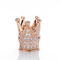 Hot Selling Fashion Jewelry Cubic Zircon Pave Crown Shape Charms for Making Bracelets