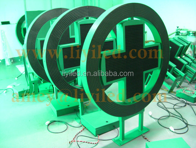 Outdoor factory two sides circle green cross manufacturers / Round led cross display
