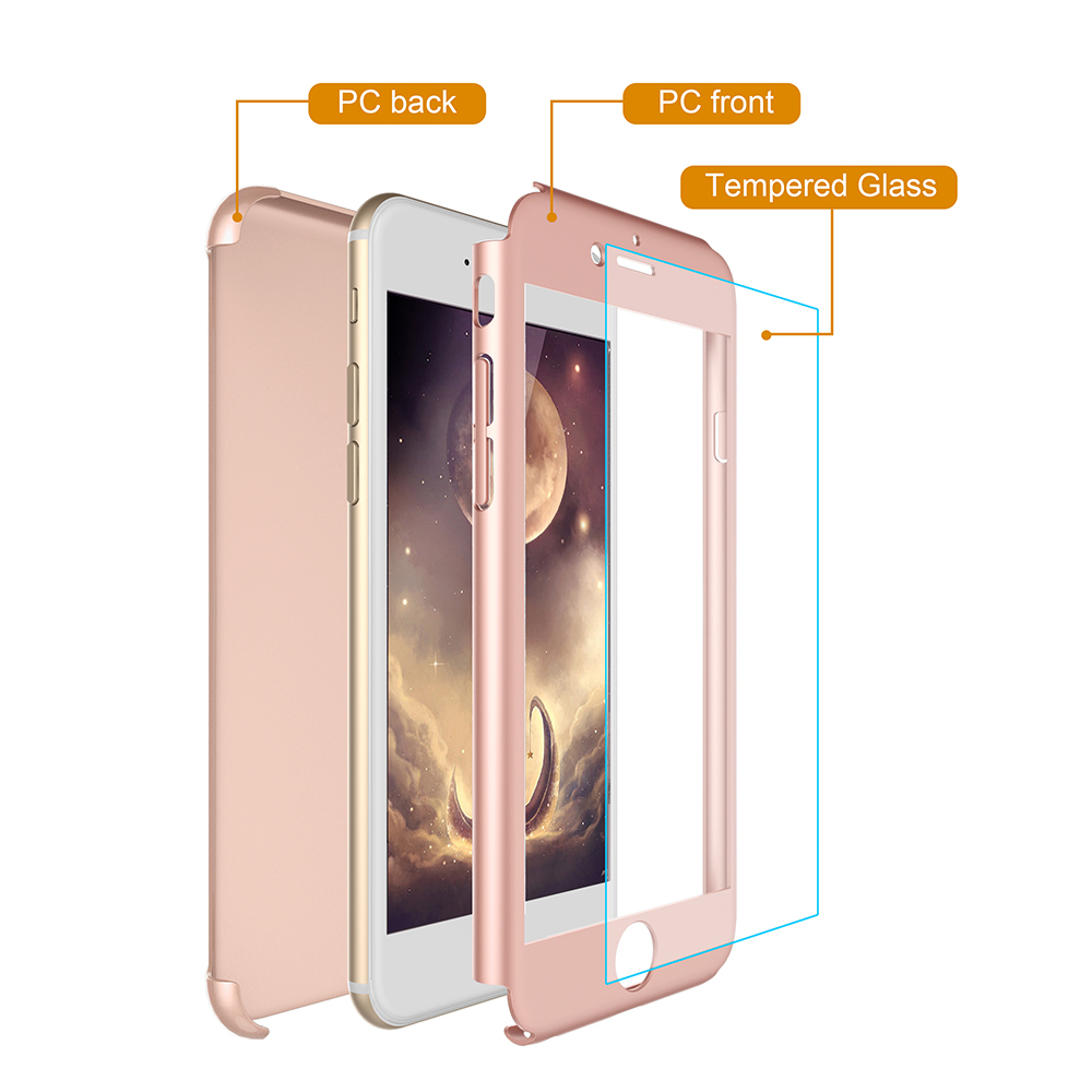360 degree mobile 7 full protective hard PC cell phone case with tempered glass PC cover for iphone 7