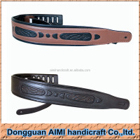 AIMI Custom Genuine Leather Guitar Strap for Acoustic Electric Bass Adjustable