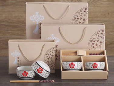 Haonai Japanese style porcelain rice bowl, ceramic bowl set-2pcs bowl and 2pcs chopstickers in gift box.