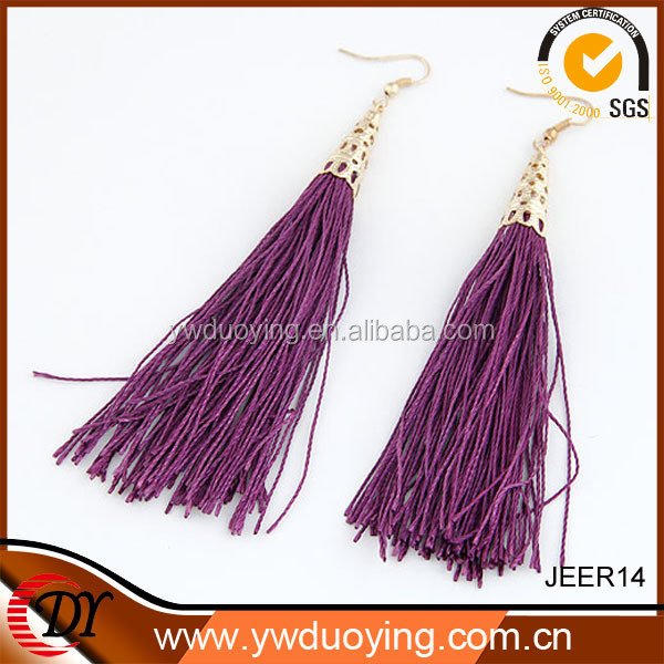 Wholesale Fashion Drop Earring Korean Style Elegant Purple Tassel Earring
