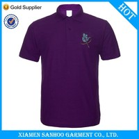 Good Design Men Work Uniform Thick Polo Shirts 100% Cotton 200G Deep Purple Polo Breathable Fabric