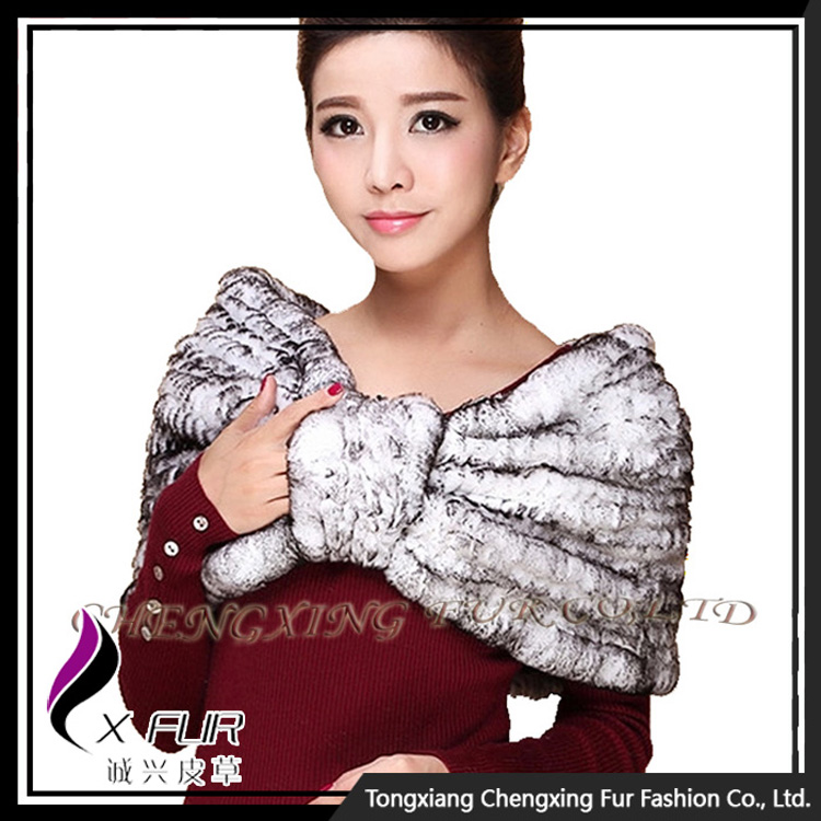 CX-B-130D High Quality Classic Design Rex Rabbit Fur Stoles and Shawls