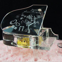High end beautiful custom words crystal piano with light base for birthday gift