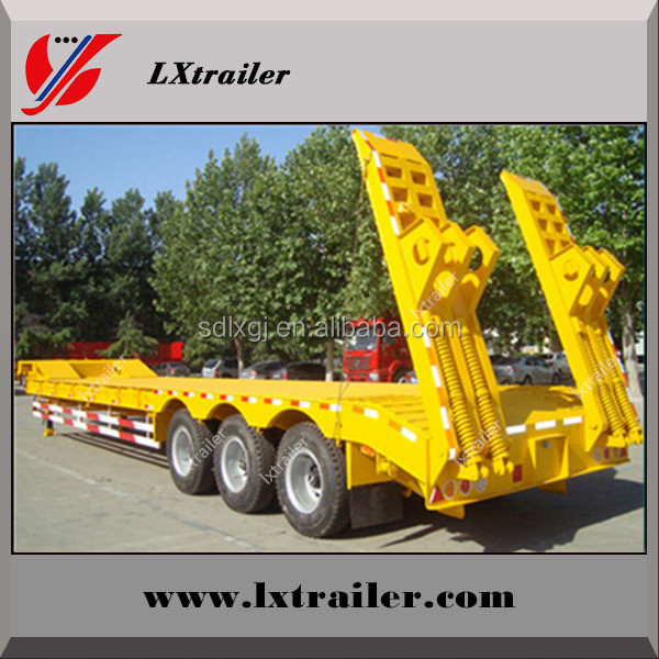 heavy duty 3 axle 60ton used low bed trailer ( dimensions optional ) / 60 ton tri-axle low boy truck semi trailer