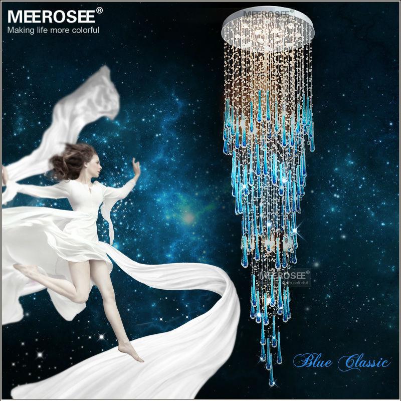 Königsblau Kristall Kronleuchter Leuchte Lange Große Kristall Lampe Für  Treppe Glanz Treppen Foyer Kristall Treppenleuchte MD2214