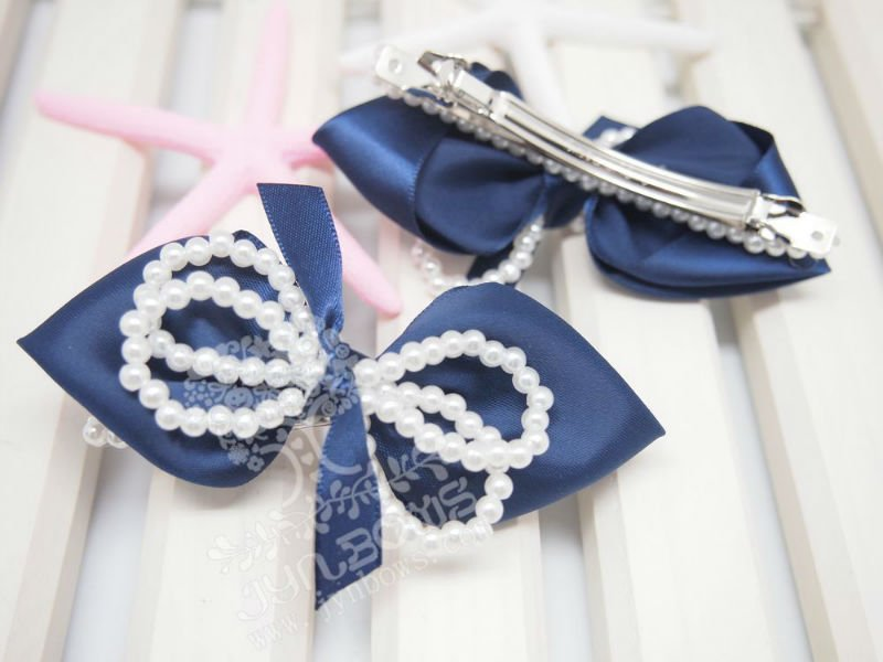 Navy Satin ribbon bow 3 inch beautiful pearl line french barrettes for women