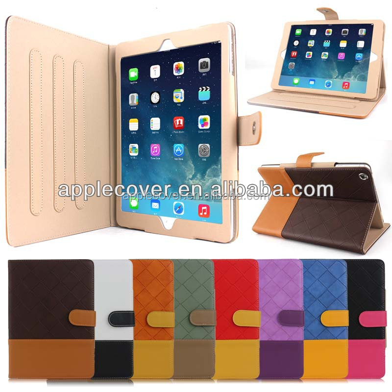 China supplier couple color leather tablet case for ipad air with stand , for ipad air leather case