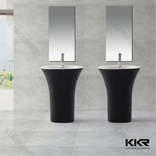 freestanding resin stone/poly stone/polymarble black bathroom sinks