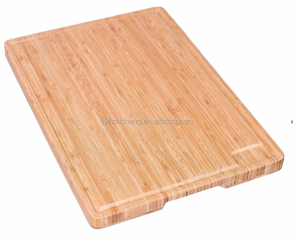 Wholesale Kitchen and Cutlery Accessories Bamboo Wood Cutting Board Chopping Block with Juice Groove and Reservoir