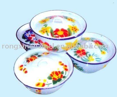enamel bowls,tableware decorated &with cover