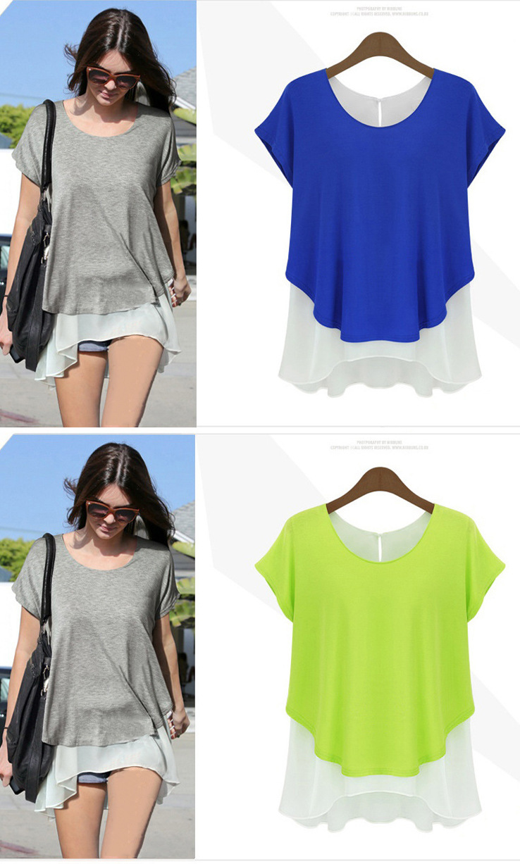 explosions European station summer new women's fake two pieces of chiffon round neck short-sleeved T-shirt