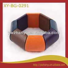 fashionable unfinished multi colors elastic wooden bracelet bangle