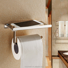 Wall Mounted Toilet Paper Holder SUS304 Stainless Steel Bathroom Tissue Holder with Phone Shelf