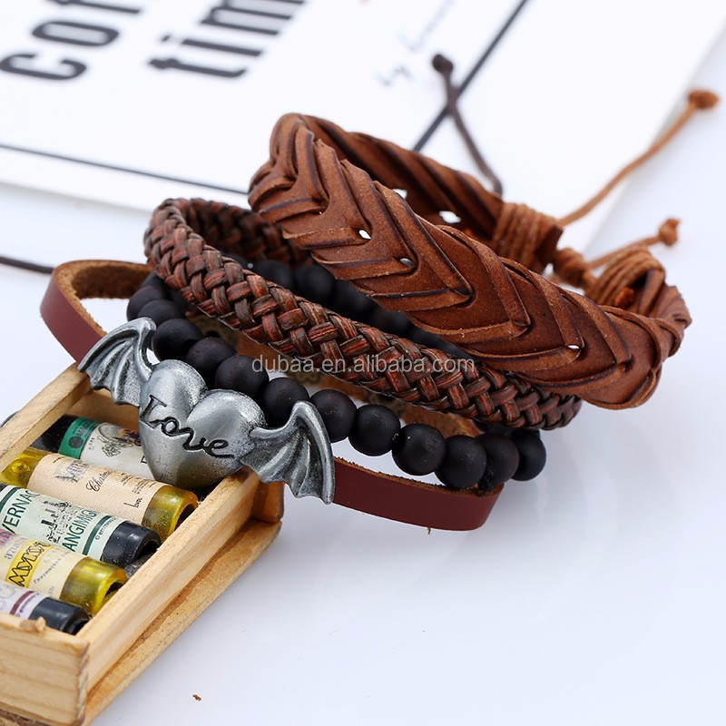 NEW Retro Angel Wing Heart Leather Charm Bracelet Plated DIY Braided Bangle 4 pack