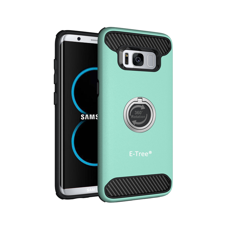 All In One Hybrid TPU Bumper Case For Samsung Galaxy S8 With 360 Rotation Finger Ring Holder