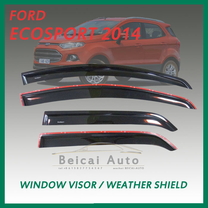BLACK VISOR WEATHER GUARDS FOR FORD ECOSPORT 4 DOOR 2014