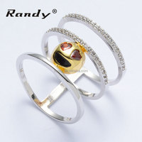 Sample Design Hollow Prong Set Heart Photo Brass Engagement Wedding Ring