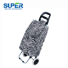 35 L 600D polyester PVC coated fabric supermarket vegetable folding shopping trolley bag