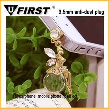 diamond heart earphone jack anti dust plug for samsung