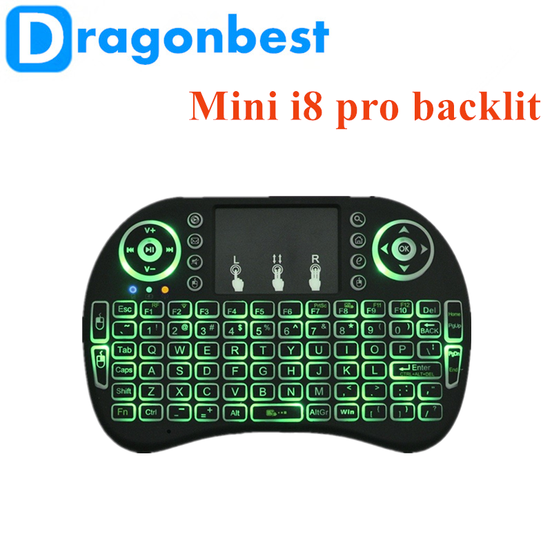2017 New design Mini i8 Pro air mouse backlit wireless mini keyboard & android tv box manufactured in China 2.4ghz
