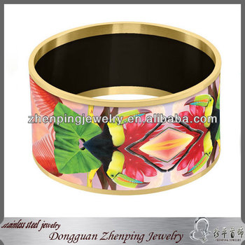Stainless steel uniquely designed glass paper insert custom enamel bangle