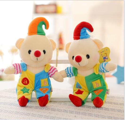 1pc 28CM Creative Cute Clown Bear Plush Toy Soft Stuffed Doll High Quality Bears With Clothes Toys Christmas Gifts